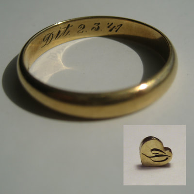 Inherited wedding ring that is cut around the engraving to be used in new band Daphne Meesters Jewellery Designer Goldsmith The Hague Netherlands